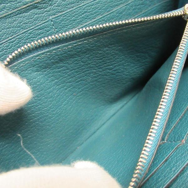 HERMES 愛馬仕 土耳其藍綠色駝鳥皮ㄇ字型拉鍊長夾 □Q刻 Azap Long Ostrich