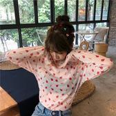 T恤  女夏新款百搭印花打底衫網紗防曬衫碎花上衣修身內搭薄 2色