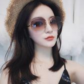 墨鏡/太陽眼鏡 歐美切邊新款無框太陽鏡大框個性蛤蟆鏡墨鏡 巴黎春天