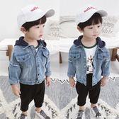 男童牛仔外套秋季韓版兒童長袖牛仔衣1-3歲寶寶連帽外套 深藏blue