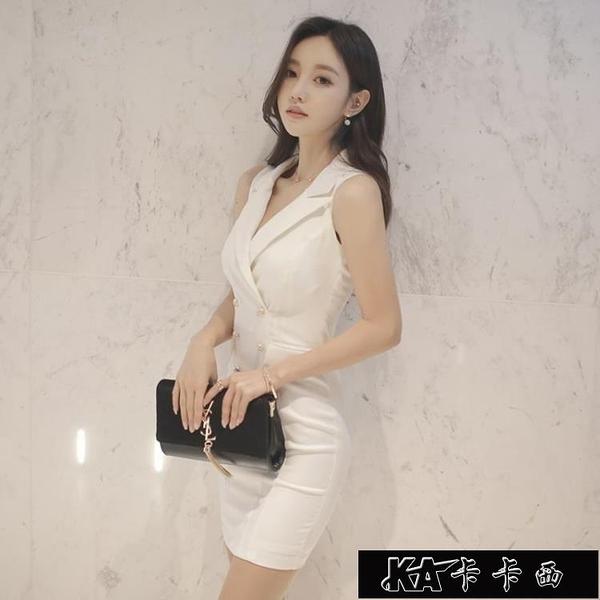職業洋裝子女夏氣質新款修身顯瘦白色性感夜店ins超火女裝11-12【快速出货】