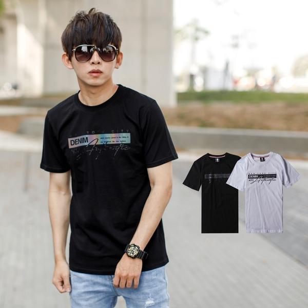T恤 彩色反光方塊DENIM手寫文字短T【NB1029J】