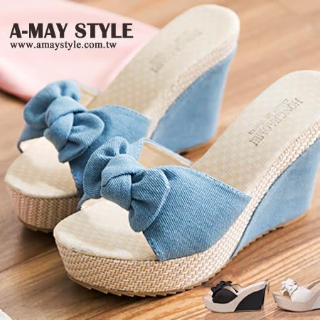 現貨涼鞋-甜美俏麗扭結楔型涼鞋 W1.2-1