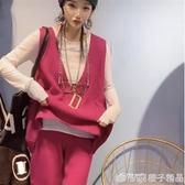 針織馬甲女外穿毛衣背心時尚韓版V領寬鬆套頭馬甲坎肩2020新款  (橙子精品)