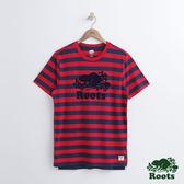Roots 男裝 - ROOTS 滿版橫條短袖T恤 - 紅色