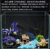 魚缸裝飾桌面小型玻璃魚缸造景水族箱懶人裝飾品套餐草坪石子水草igo  蓓娜衣都