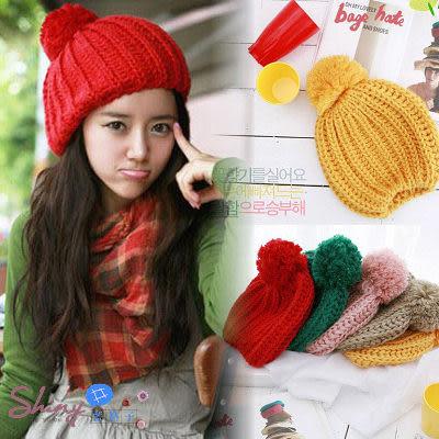 【92A77】shiny藍格子-繽紛冬日.超可愛毛球時尚保暖針織毛線帽