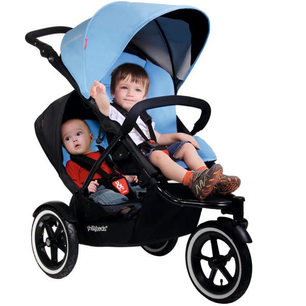 Phil & Teds Navigator 嬰兒雙人推車(單人推車+雙人座椅)天空藍、紅色