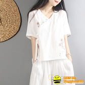 中國風復古漢服盤扣棉麻上衣女夏裝短袖文藝森女襯衫中式禪意茶服 happybee