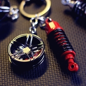 汽車潮流改裝輪轂避震鑰匙扣 全館免運