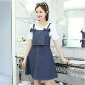 中大尺碼 兩件式洋裝 夏季春裝新款女裝甜美背帶短袖韓版套裝 DN8313【VIKI菈菈】
