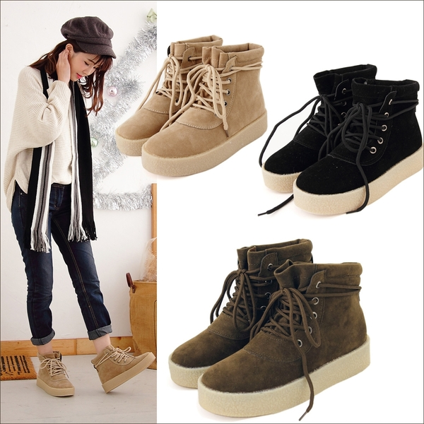 短靴 簡約麂皮保暖厚底短靴 香榭