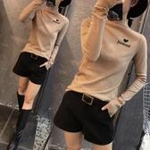 長袖T恤 秋冬季新款半高領打底衫女修身洋氣加絨磨毛長袖T恤內搭加厚上衣