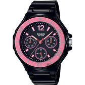 CASIO 卡西歐迷你 風日曆女錶粉紅圈x 黑LRW 250H 1A2 LRW 250H
