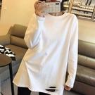 長袖 白色加絨打底衫女內搭春洋氣純棉長袖t恤女中長款百搭加厚上衣【快速出貨八折搶購】