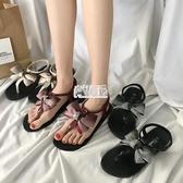 【免運】涼鞋女夏新款學生平底漸變色蝴蝶結夾趾羅馬沙灘鞋夾腳涼鞋女