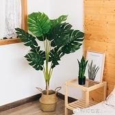 假盆景 仿真植物龜背假綠植裂口盆栽擺件室內落地客廳北歐大型開口笑裝飾 檸檬衣舍
