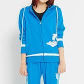 TOP GIRL- 獨特網格印花- 吸濕排汗休閒針織連帽外套 -藍