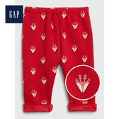 Gap男女嬰兒鬆緊腰抽繩針織褲小腳褲513700-摩登紅色
