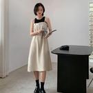 簡約時尚一字領高腰洋裝連身裙吊帶裙韓版【89-16-8Q085-21】ibella 艾貝拉