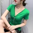 低胸上衣 純棉v領短袖t恤女夏季新款性感露胸體恤衫修身百搭短款上衣潮