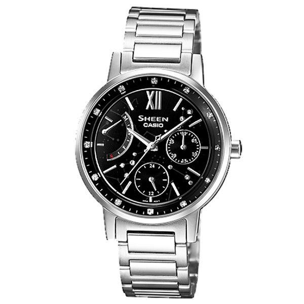 CASIO SHEEN系列 仲夏星塵三環晶鑽時尚腕錶(鋼帶-銀黑)