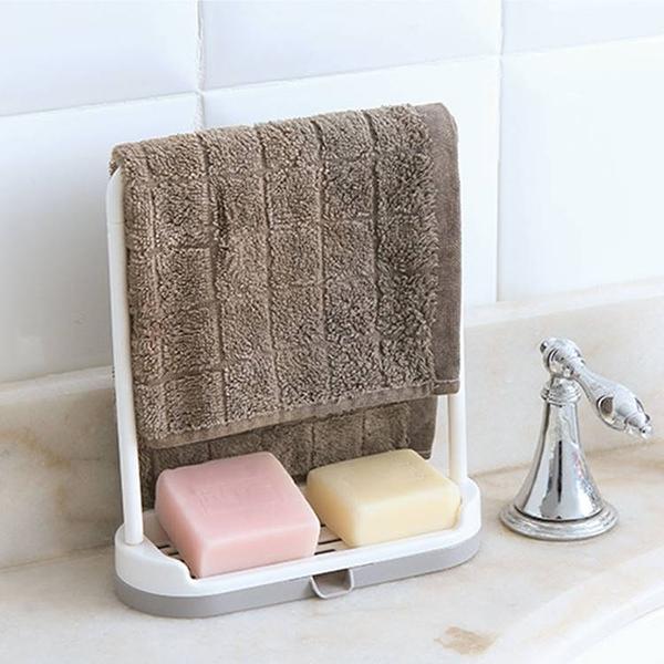 現貨-廚房水槽檯面清潔抹布架塑料瀝水抹布海綿擦毛巾置物架【B050】『蕾漫家』