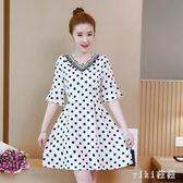 雪紡洋裝 2019夏季胖mm時尚波點收腰顯瘦大碼遮肚子雪紡連身裙減齡 LC1662 【VIKI菈菈】