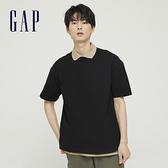 Gap男裝 棉質舒適厚磅純色圓領短袖T恤 590048-黑色