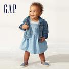 Gap女嬰 淺色水洗牛仔吊帶洋裝 544271-中度水洗