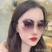 新款鑲鉆珍珠太陽鏡女圓臉長臉大臉款 時尚漸變無框墨鏡 洛小仙女鞋