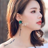 925銀耳針韓耳環綠花朵氣質流蘇耳飾品時尚百搭耳墜長款耳釘女 俏腳丫