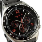 【萬年鐘錶】agnes b. 法式時尚風 三眼計時腕錶 IP鍍黑鋼帶 銀殼 黑面  橘紅字 43mm 7T12-0AP0E(BW8002P1)