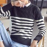 新款秋季圓領毛衣男韓版修身潮流冬季條紋男士針織衫打底拼接 街頭潮人