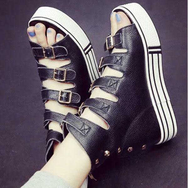 涼鞋 歐美時尚羅馬楔型厚底魚口涼鞋【S881】☆雙兒網☆