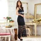 性感蕾絲鑲鑽顯腰包臀表演服飾連衣裙洋裝~美之札