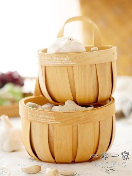 收納籃 姜蒜收納籃廚房裝生姜大蒜小籃子藤編筐放蔥姜盒壁掛置物竹籃編織