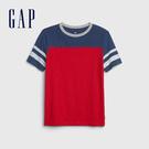 Gap男童棉質舒適撞色圓領短袖539249-紅色