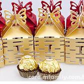 婚禮小物-100份鏤空囍字喜糖盒+金莎巧克力+專用紙箱 -活動禮/送客禮/ 幸福朵朵