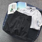 韓版潮流原宿風bf寬鬆條紋西裝短褲男生ulzzang港風文藝五分褲子  巴黎街頭