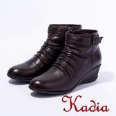 2016秋冬新品上市kadia 小羊皮抓皺低跟短靴(咖啡色)
