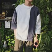 夏季七分袖t恤男正韓學生港風bf寬鬆百搭7分短袖t血上衣服 萬聖節