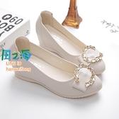 樂福鞋 內增高單鞋女防滑平底淺口軟皮鞋百搭圓頭坡跟豆豆鞋【風之海】