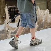 男童牛仔短褲潮夏季兒童工裝褲洋氣薄款外穿2021新款韓版七分褲夏 米娜小鋪