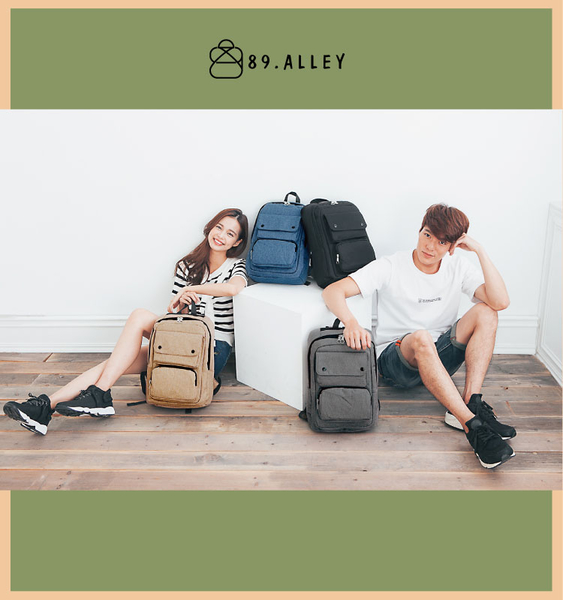 後背包 女包男包 韓版質感防水尼龍 熱銷素色款情侶後背包 89.Alley ☀4色 HB89135