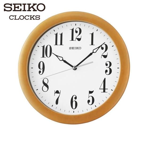 SEIKO 精工掛鐘 數字顯示木頭掛鐘x淺棕 直徑28cm 辦公室教室用 公司貨・QXA674B 高雄名人鐘錶