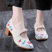 中國風新款精美提花棉刺繡繡花鞋復古高跟鞋旗袍配鞋粗跟單鞋