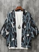 日繫復古仙鶴男浮世繪寬鬆七分袖襯衫外套 快速出貨