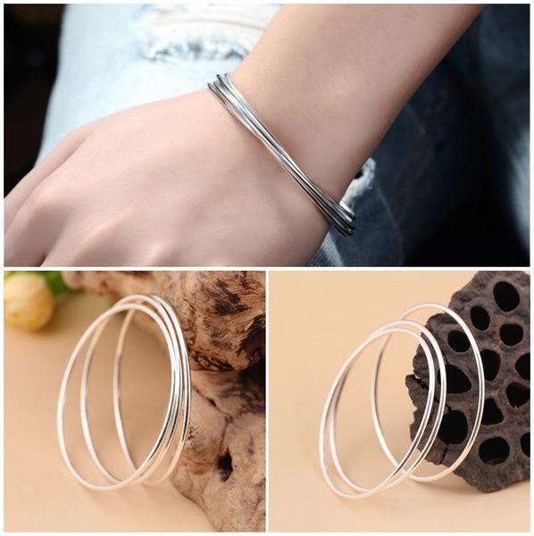 925純銀 極細素面 圓形無開口手環-銀 防抗過敏 不退色 單環販售