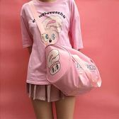 可愛印花字母粉色少女心甜美行李包軟妹行李袋旅行包 店家有好貨